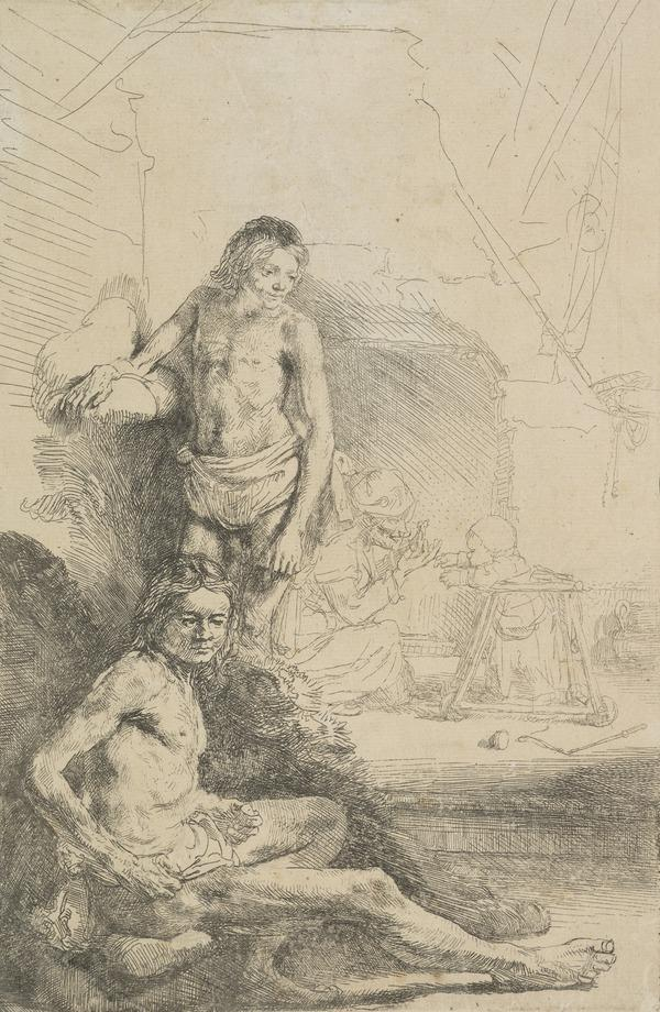 Nude Man Seated and another Standing with a Woman and Baby Lightly Etched in the Background (Bartsch no. 194 I/3) (About 1646)