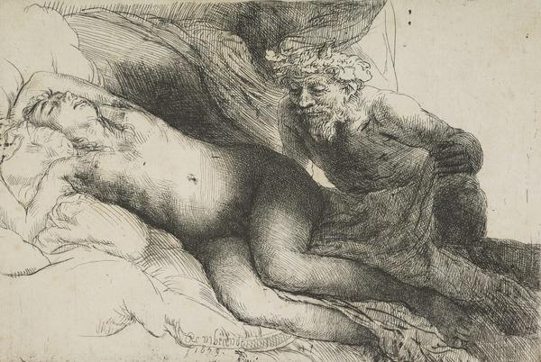 Jupiter and Antiope (Bartsch no. 203 I/2) (Dated 1659)