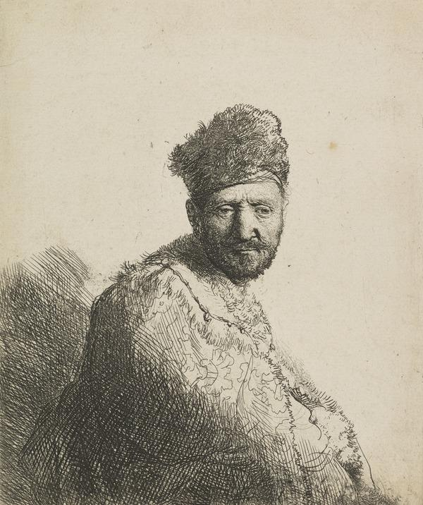 Bearded Man in a Furred Oriental Cap and Robe: The Artist's Father (Bartsch no. 263 IV/4) (Dated 1631)