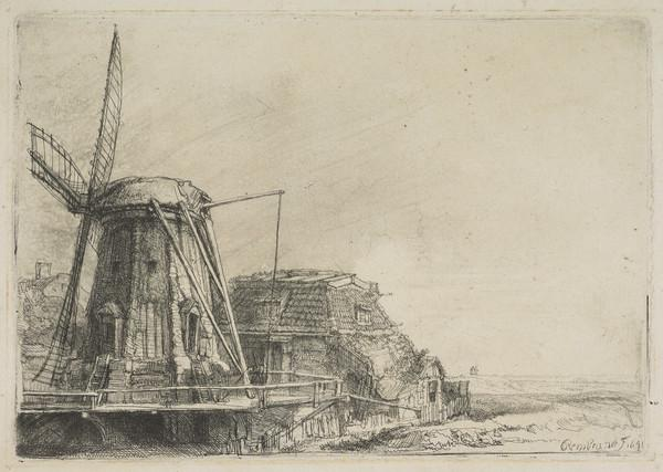 The Windmill (Bartsch no. 233. Only State) (Dated 1641)