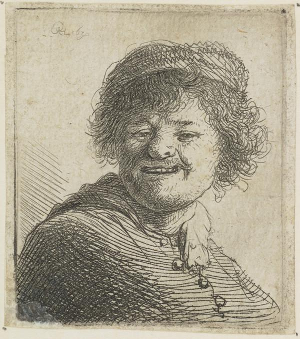 Self Portrait in a Cap: Laughing (Bartsch no. 316 V/6) (Dated 1630)