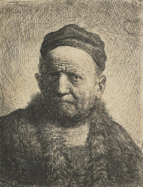 Man Wearing a Close Cap: Bust (the Artist's Father ?) (Bartsch no. 304 V/5) (Dated 1630)