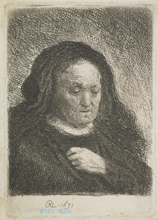 The Artist's Mother with her Hand on her Chest (Bartsch no. 349 II/2) (Dated 1631)