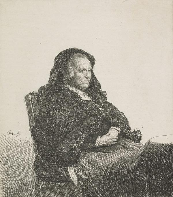 The Artist's Mother Seated at a Table, Looking Right (Bartsch no. 343 II/3) / Old Woman Seated at a Table, Looking Right (About 1631)