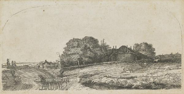 Landscape with a Hay Barn and a Flock of Sheep (copy after Bartsch no. 224) (About 1770 - 1780)
