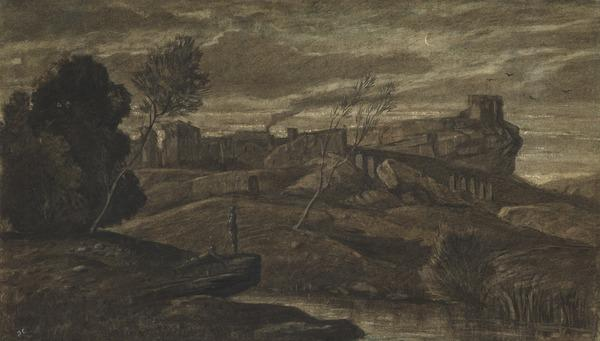 Landscape with a Town on a Hill