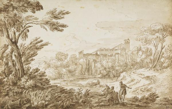 Italian Landscape, a Palace and a Lake
