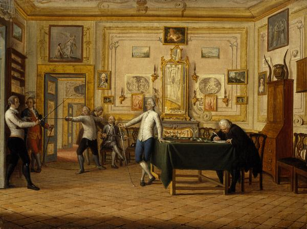 Kenneth Mackenzie, 1st Earl of Seaforth 1744 - 1781 at home in Naples: fencing scene (1771)