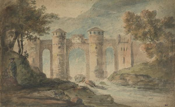 An Italianate Bridge with Twin Towers (About 1780)