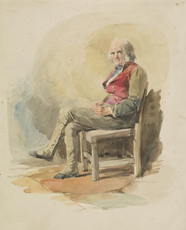 Study of an Old Man with Red Waistcoat, Seated on a Chair [Verso: Young Woman Knitting]