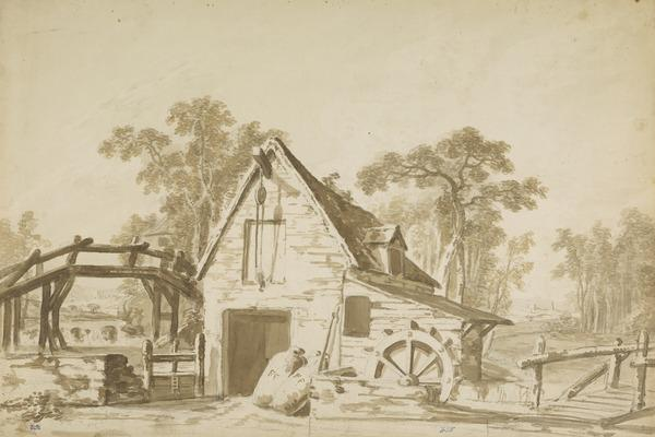 A Watermill and Bridge. Design for a Stage Set