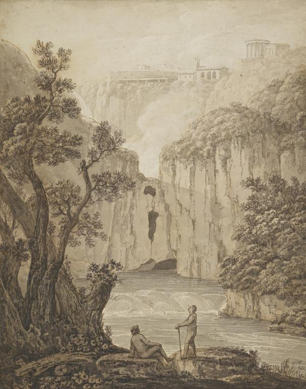 The Waterfall, Tivoli - Two Figures in the Foreground