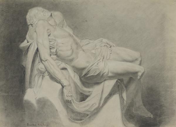 Academic Drawing of the Figure of Christ from a Cast of the Michelangelo 'Piet+' in St. Peter's, Rome (1827)