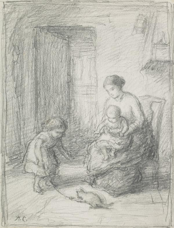 Playing With the Kitten - A Mother and Child Seated Watching a Little Girl Playing With a Kitten