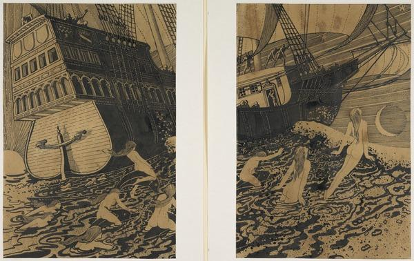 Sailing Ship and Mermaids