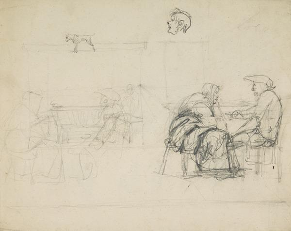 Compositional Study of Figures in a Scottish Interior [Verso: Sketches of a Reclining Male Figure, a Male Head and Horses]