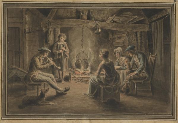 Cottage Interior with Family Sitting at the Fireside - A Boy Playing the Stock and Horn