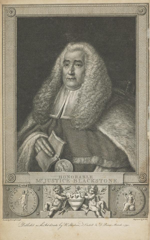 "Honourable Sir William Blackstone, 1723 - 1780. Judge: Author of ""Commentaries"""