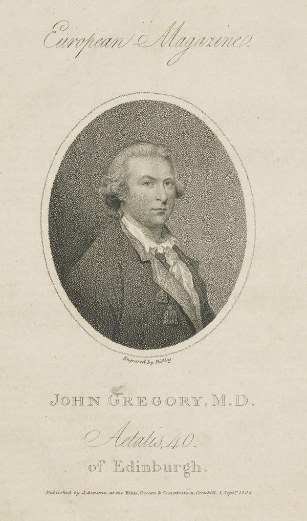 Professor John Gregory, 1724 - 1773 (Published 1804)