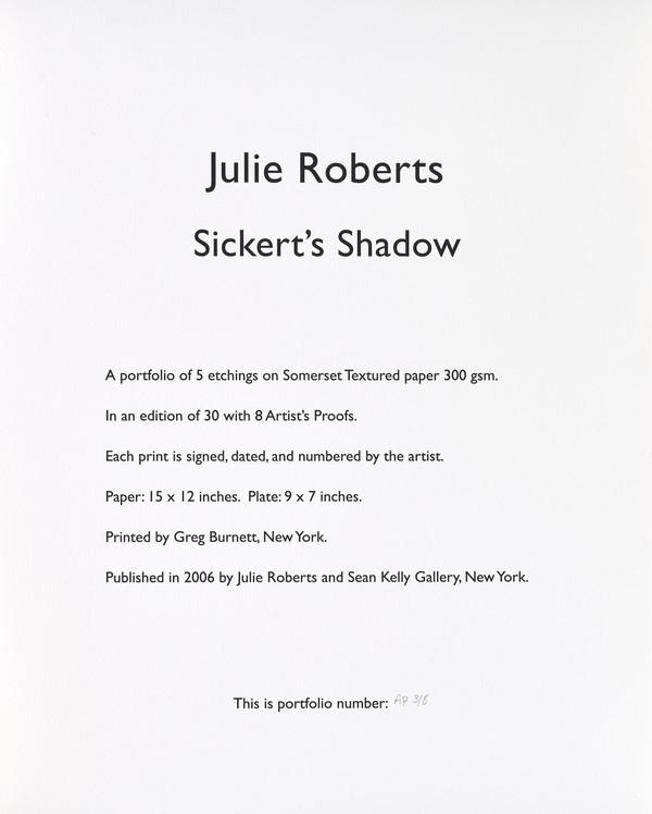 Colophon page (from Sickert's Shadow Portfolio) (2006)