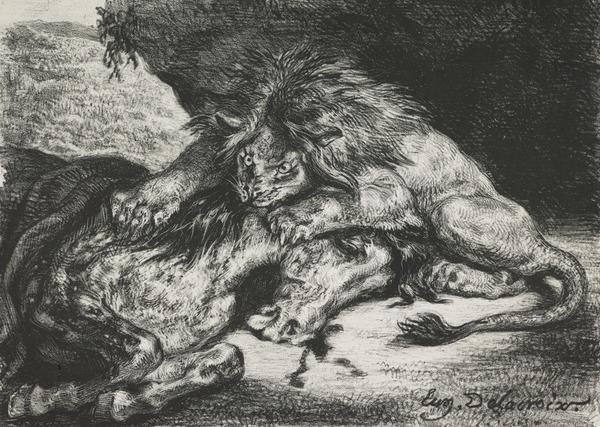 Lion Devouring a Horse (1844)