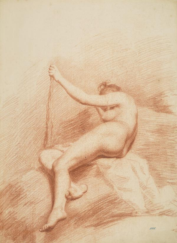 Academic Drawing of a Seated Nude Woman, Resting her Left Arm on a Club (About 1755 - 1756)