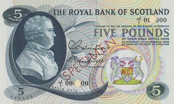 David Dale, 1739 - 1806. Manufacturer and philanthropist. (Specimen bank note (5 pound)) (Published 1967)