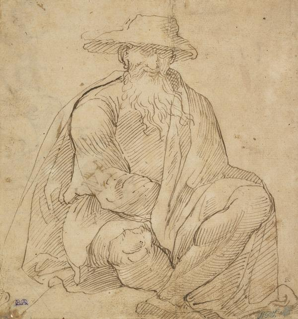 A Seated Man Wearing a Broad-Brimmed Hat (About 1510 - 1515)