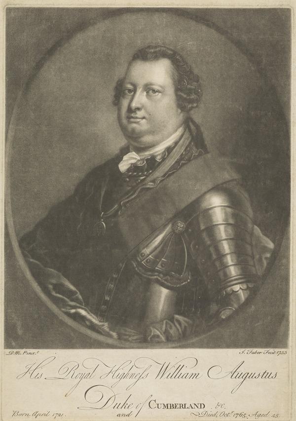 William Augustus, Duke of Cumberland, 1721 - 1765. Youngest son of George II (1753)