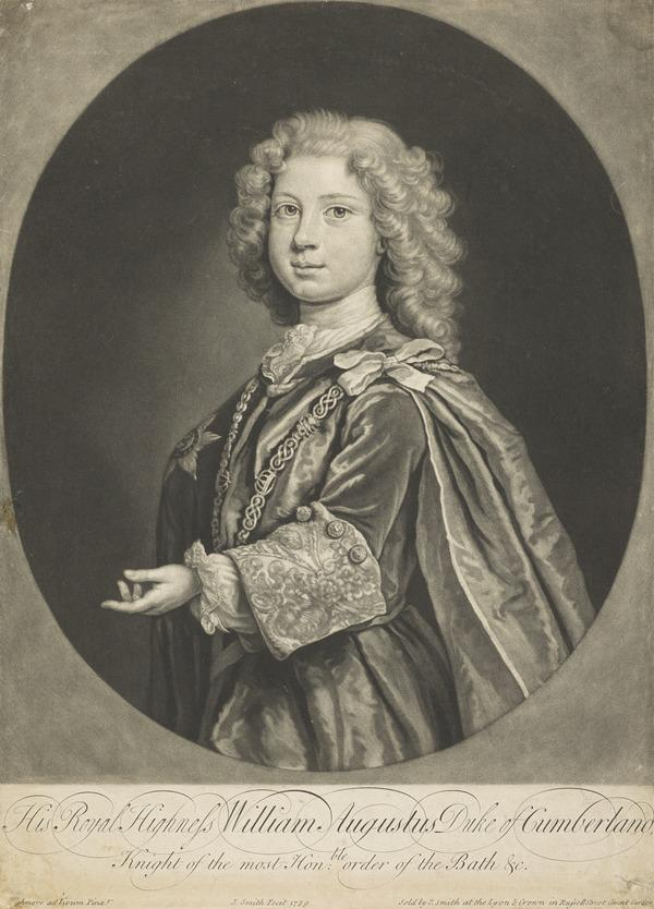 William Augustus, Duke of Cumberland, 1721 - 1765. Youngest son of George II (1729)