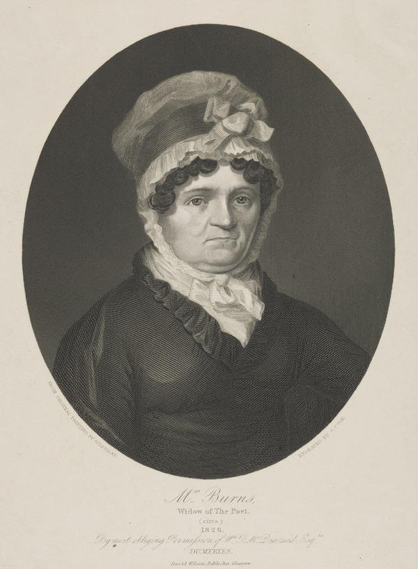 Jean Armour, Mrs Robert Burns, 1768 - 1834. Wife of the poet Robert Burns (with one of her grand-daughters) (About 1826)