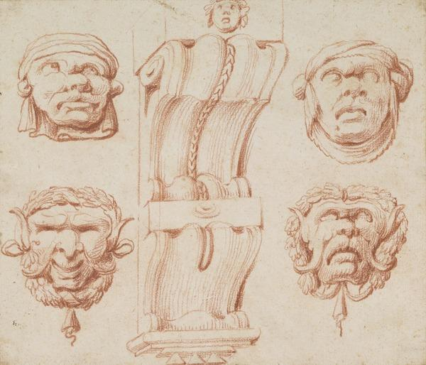 From a folio of 12 Chalk Drawings and Designs for Cartouches: Elaborate baroque bracket and four masks