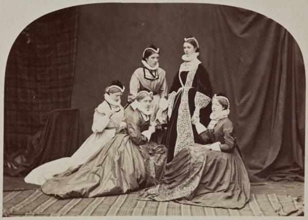 Mary, Queen of Scots at Wemyss Castle - tableau featuring Miss G. Moncrieffe, Lady Ida Duff, Hon. Miss White, Miss H. Moncrieffe and Lady Anne Duff (27 August 1863)