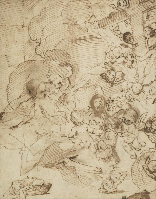 The Holy Family with Putti [Verso: similar studies]
