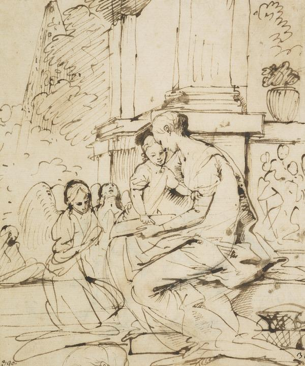 The Virgin and Child with Two Angels [Verso: Male Nude]