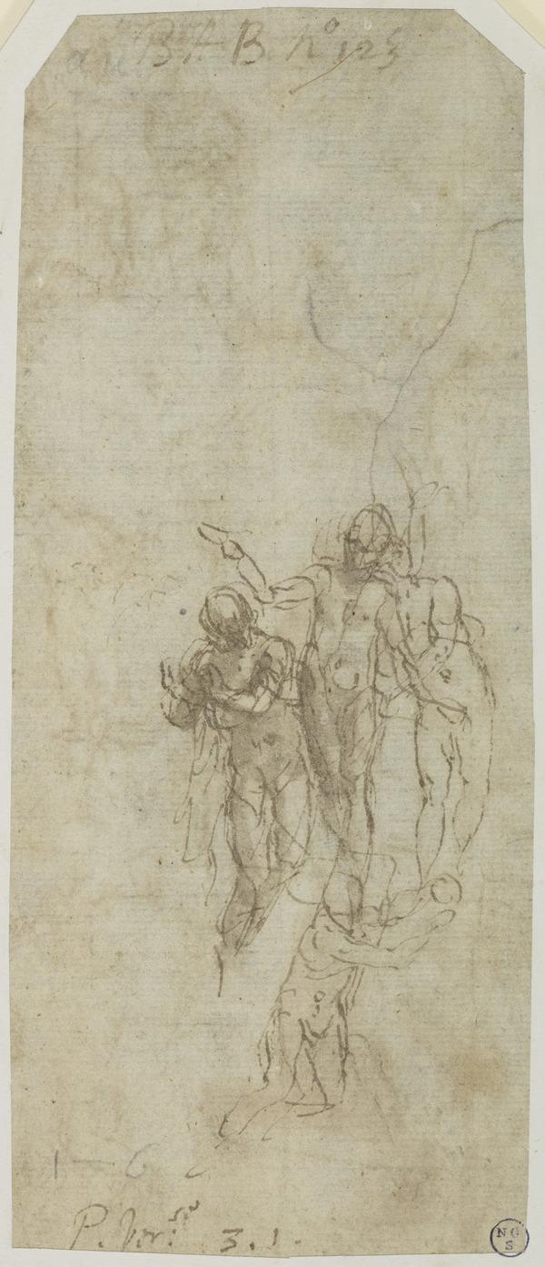 Studies for a Baptism of Christ [Recto and Verso] (About 1588)