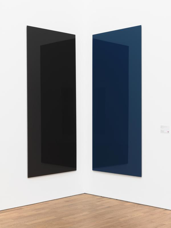 Eckspiegel, braun-blau [Corner Mirror Paintings (Brown-Blue, 737-1 and 2)] (1991)