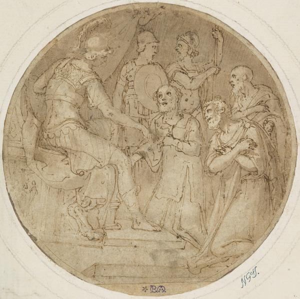 Design for Maiolica: Caesar, Enthroned, Hears the Pleas of Kneeling Barbarians
