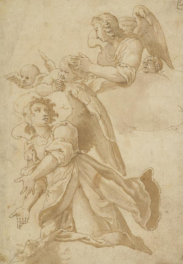 Two Angels And Putti