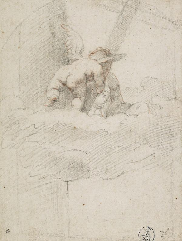 Two Infant Angels on Clouds Bearing a Cross [after Titian] (1560s)