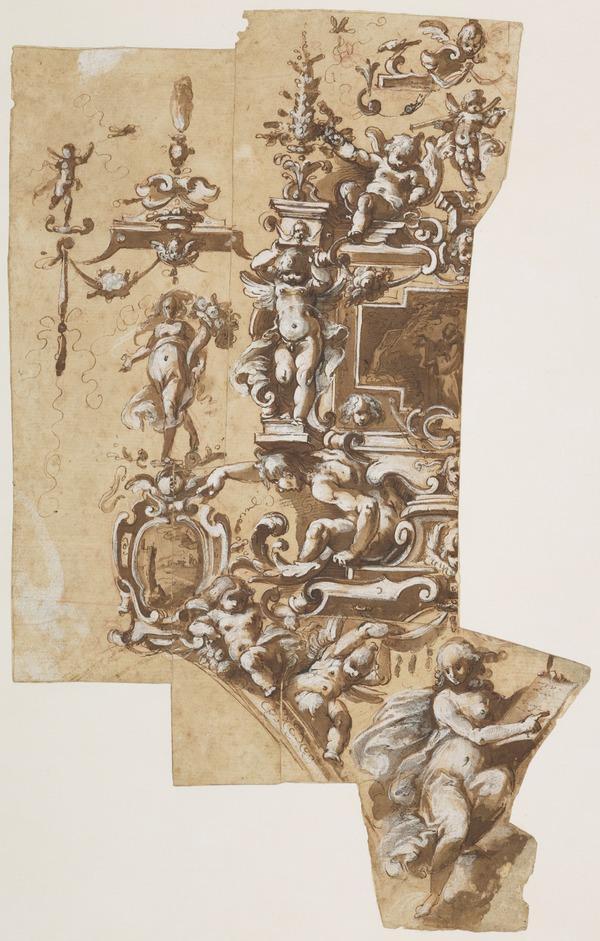 Study of an elaborate Wall Decoration with Putti and a Sybil and Medallions depicting a Monastic Saint in Prayers, and a Landscape (About 1580)