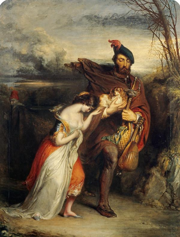 The Gow Chrom Reluctantly Conducting the Glee Maiden to a Place of Safety (from Scott's 'The Fair Maid of Perth')