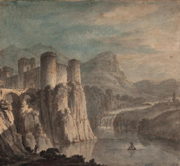 River Landscape with a Castle, Lake and Sailing Boat (Dated 1782)