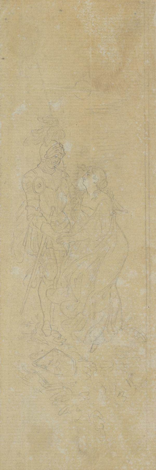 Sir Richard Coldinghame and Lady Smailholm. Illustration to Sir Walter Scott's 'The Eve of Saint John'