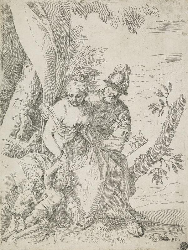 Mars, Venus and Cupid (Counterproof)