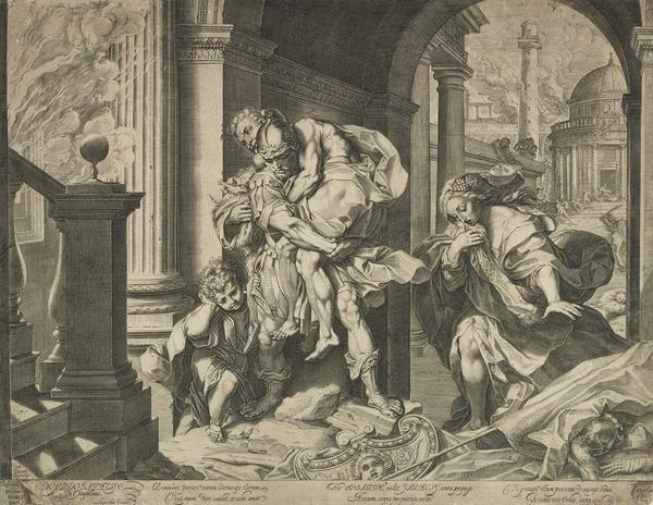 Aeneas and his family fleeing from Troy (1595)