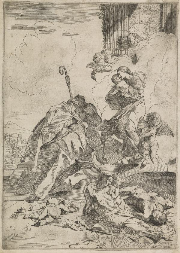 Sts Martin, Paulinus and ?Theodore invoking the Virgin against the plague