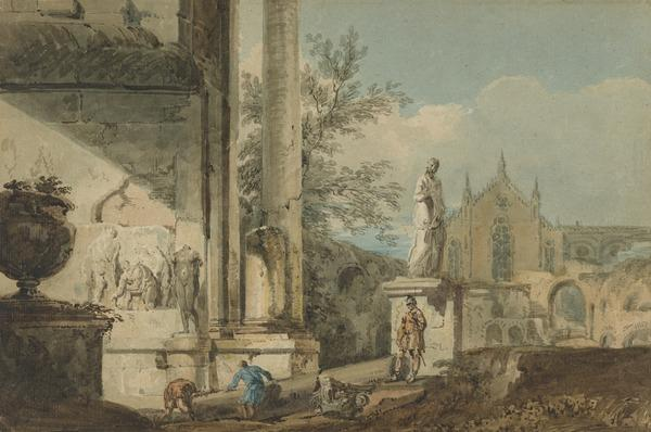 A Capriccio of Antique and Gothic Architecture. Copy after Marco Ricci