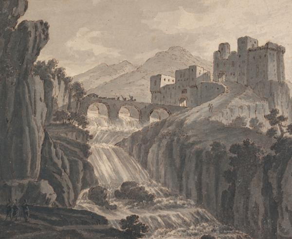 A Rocky Landscape with a Castle, Waterfall and a Bridge with Riders and a Wagon (About 1780)