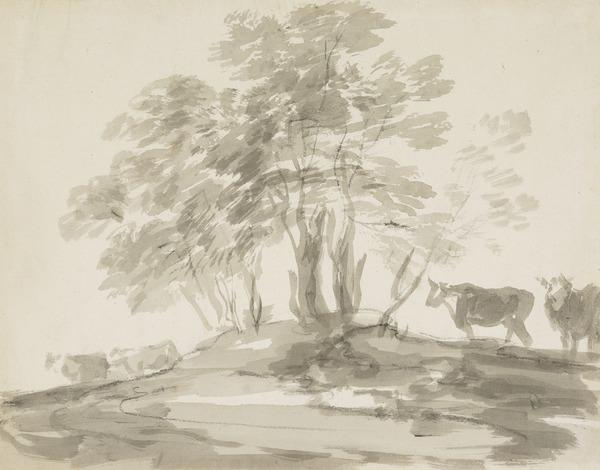 Landscape Sketch - Clump of Trees with Four Cows (mid 1780s)